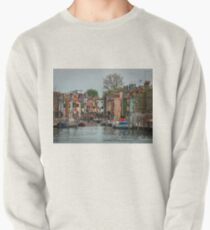 A View Along a Canal in Burano, Italia Pullover Sweatshirt
