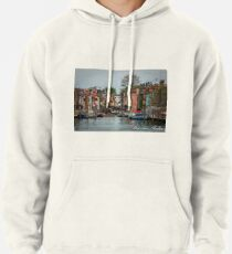 A View Along a Canal in Burano, Italia Pullover Hoodie