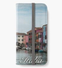 A View Along a Canal in Burano, Italy iPhone Wallet/Case/Skin