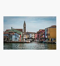 A View Along a Canal in Burano, Italy Photographic Print