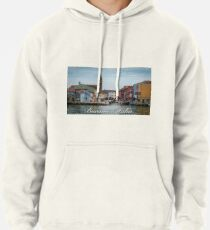 A View Along a Canal in Burano, Italy Pullover Hoodie