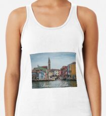 A View Along a Canal in Burano, Italy Racerback Tank Top