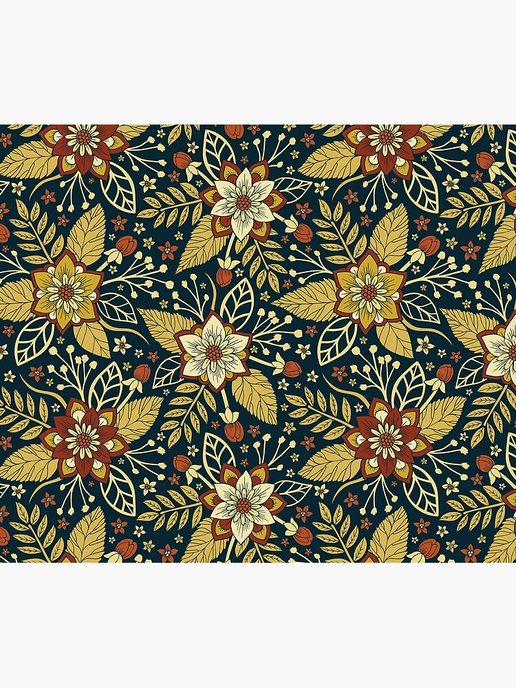 Gold and Navy Blue Floral by somecallmebeth