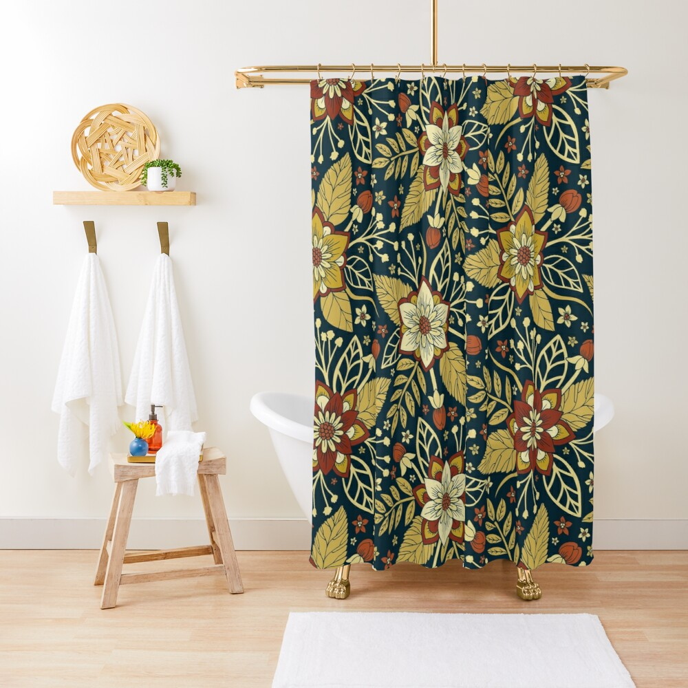 Gold and Navy Blue Floral Shower Curtain