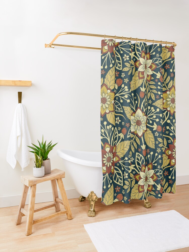 Alternate view of Gold and Navy Blue Floral Shower Curtain