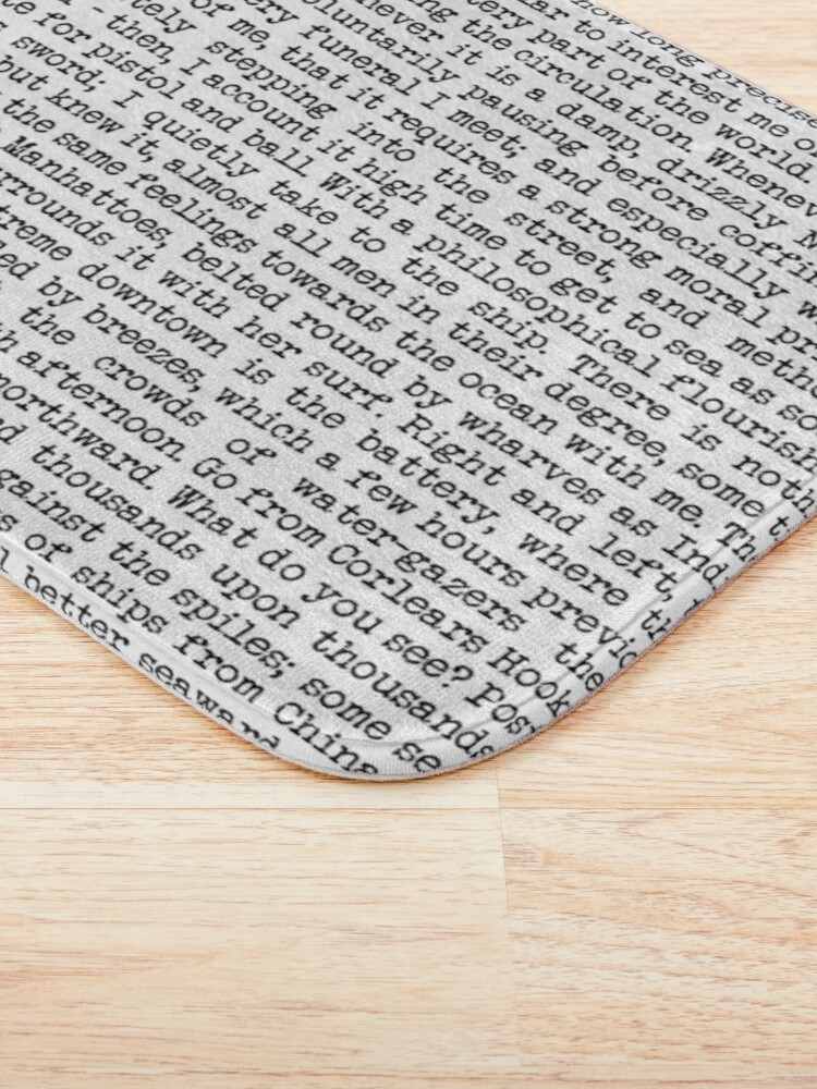 Alternate view of Moby Dick Opening in Old Typewriter Print. Call me Ishmael . . .  Bath Mat