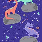 Dinosaurs Floating on an Asteroid in Purple by latheandquill
