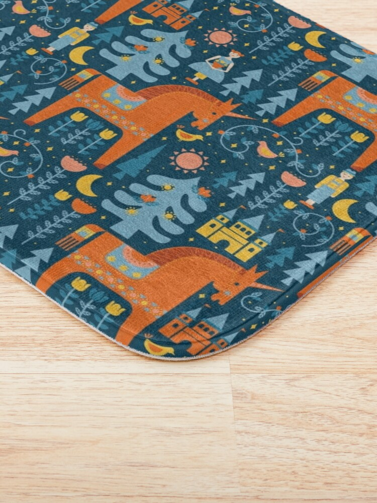 Alternate view of Fairy Tale in Blue + Orange Bath Mat
