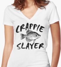 CRAPPIE SLAYER Women's Fitted V-Neck T-Shirt