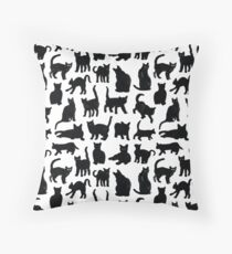 Black Cats Pattern  Throw Pillow