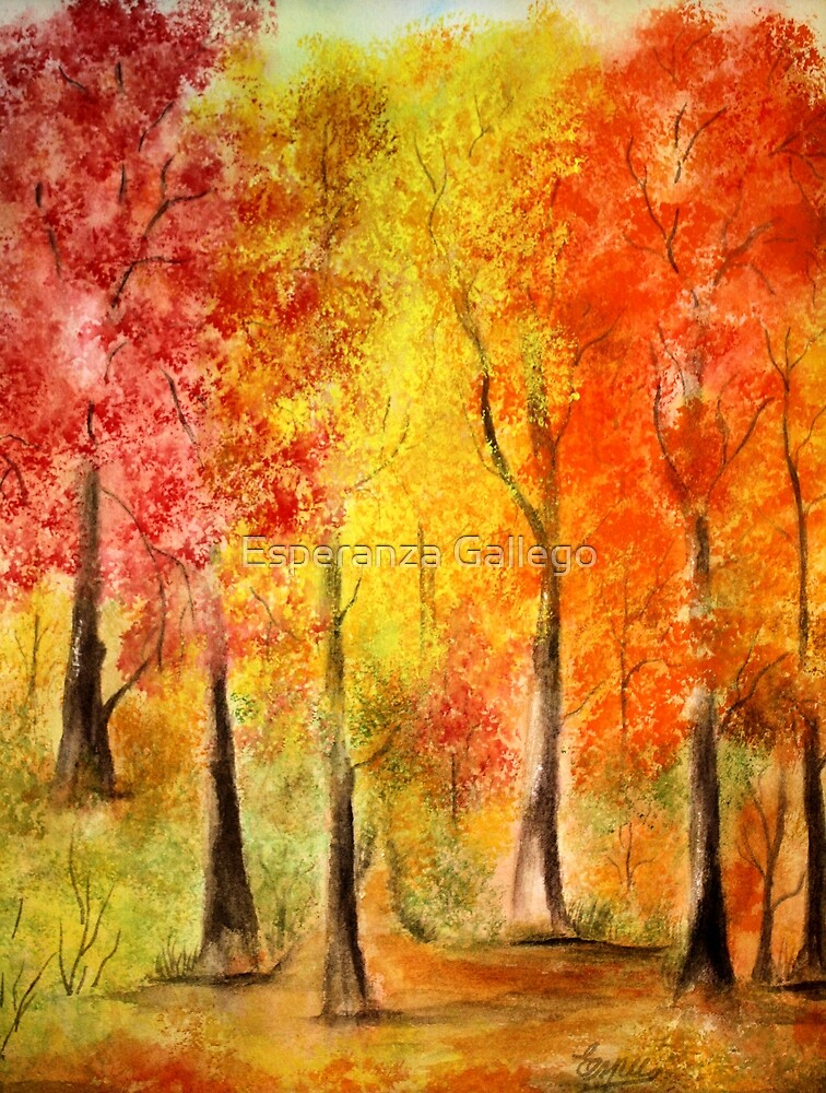Colors of the fall watercolor painting by esperanza for Autumn tree painting