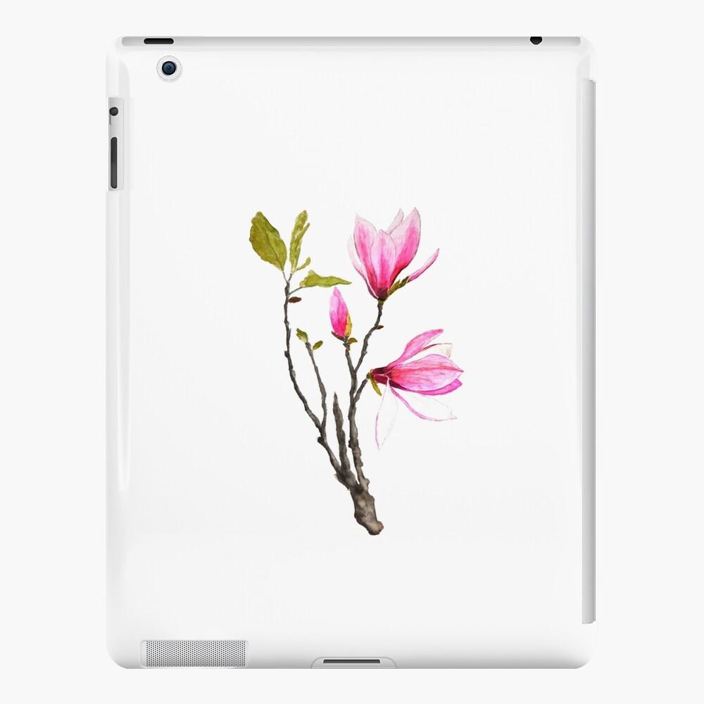 acuarela de flor de magnolia rosa Funda y vinilo para iPad