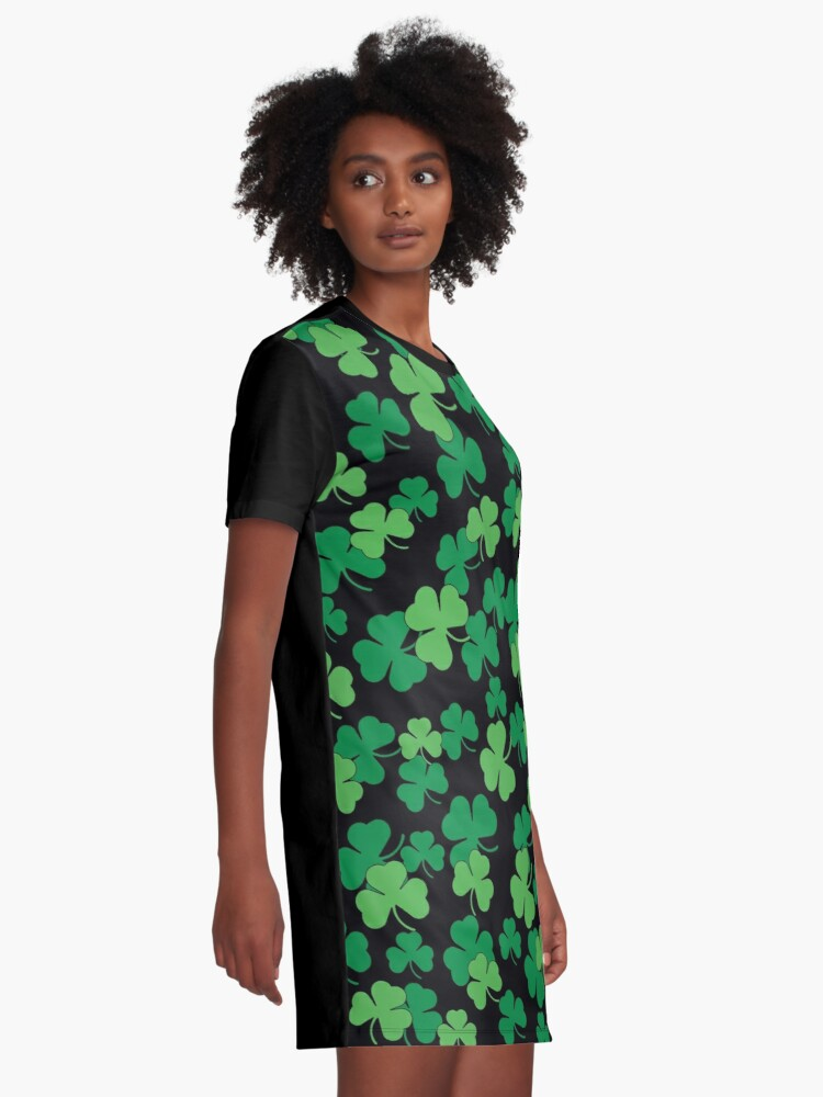 Alternate view of St. Patricks day clover pattern Graphic T-Shirt Dress
