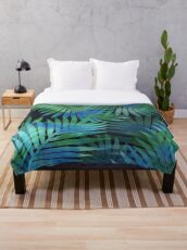 Tropical Memories in Relaxing Palms Throw Blanket