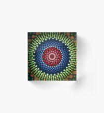 Roses and bluebell circle mandala Acrylic Block