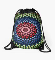 Roses and bluebell circle mandala Drawstring Bag