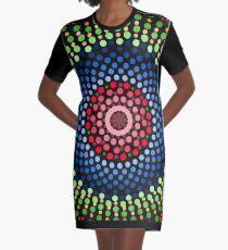 Roses and bluebell circle mandala Graphic T-Shirt Dress