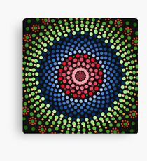 Roses and bluebell circle mandala Canvas Print