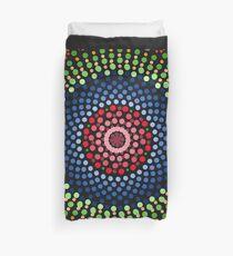 Roses and bluebell circle mandala Duvet Cover