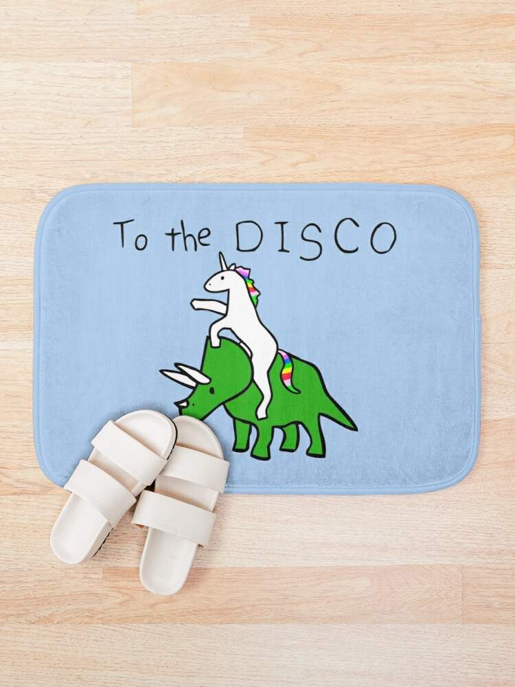Alternate view of To The Disco (Unicorn Riding Triceratops) Bath Mat