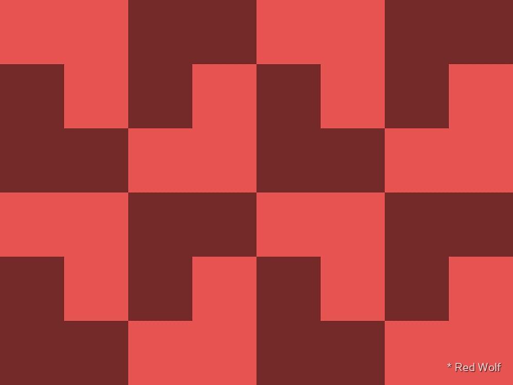 Geometric Pattern: Tetris Ell: Red Dark by * Red Wolf