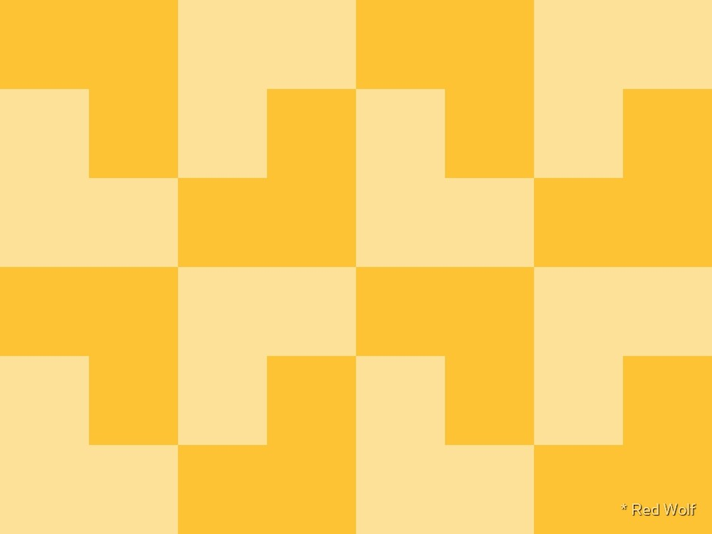 Geometric Pattern: Tetris Ell: Yellow Light by * Red Wolf