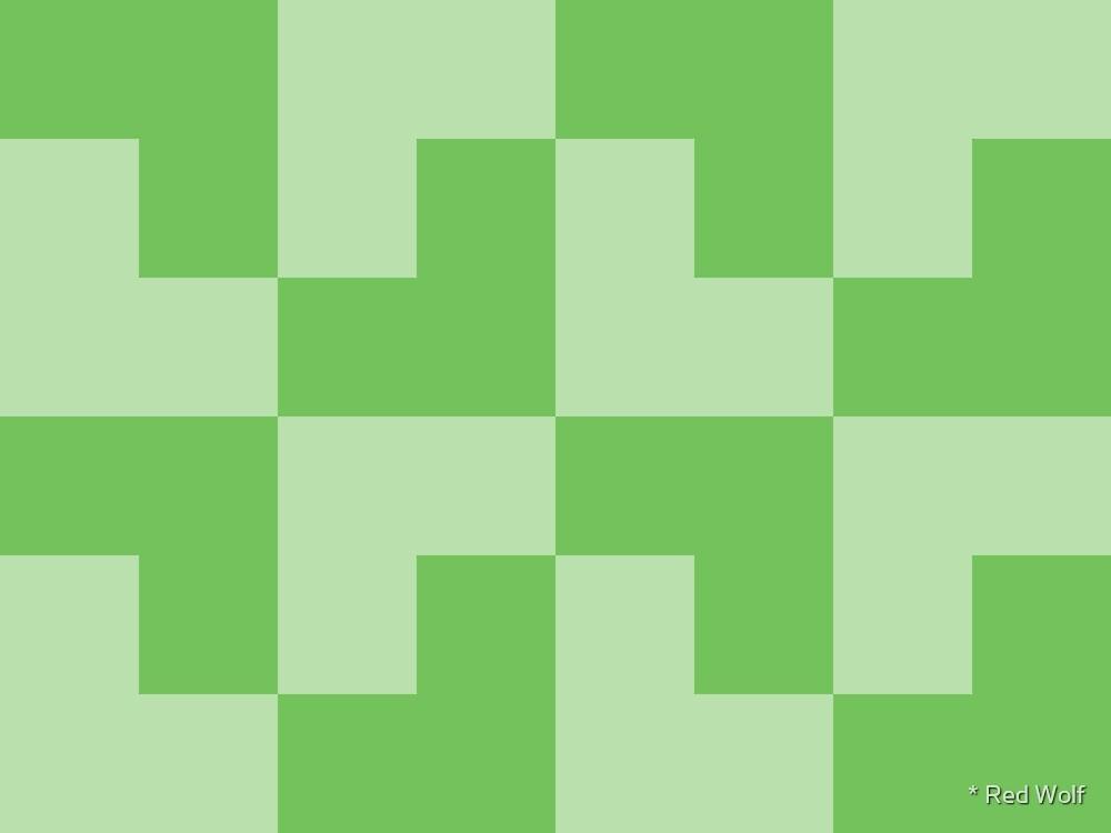 Geometric Pattern: Tetris Ell: Green Light by * Red Wolf