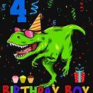 Birthday Boy 4th Dinosaurier  von Basti09