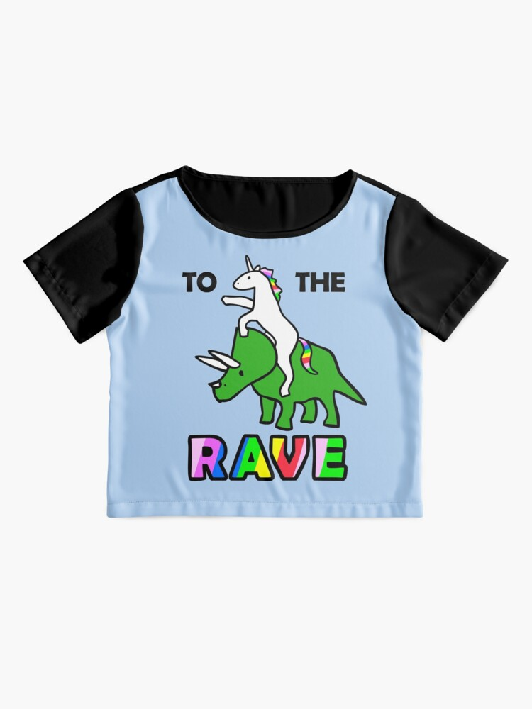 Alternate view of To The Rave! (Unicorn Riding Triceratops) Chiffon Top
