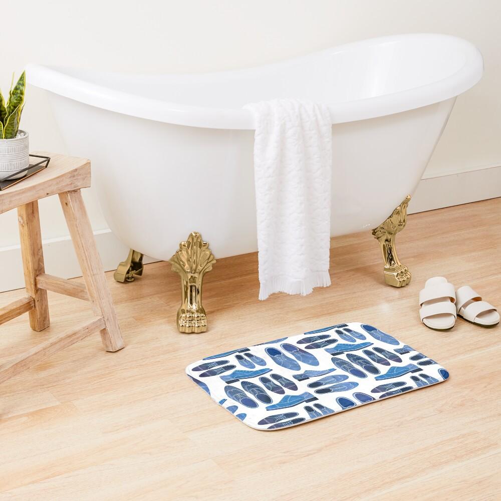 Blue Brogue Shoes Bath Mat