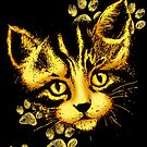 Cat Cute Portrait with Paws Prints by BluedarkArt
