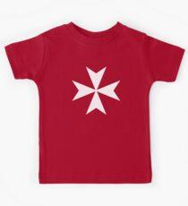 MALTA, Malteser, Amalfikreuz, Malteserkreuz, Ritterhospitaller, WEISS auf ROT Kinder T-Shirt