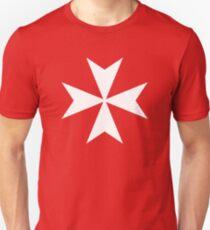 MALTA, Maltese, Amalfi Cross, Maltese cross, Knights Hospitaller, WHITE on RED. Slim Fit T-Shirt
