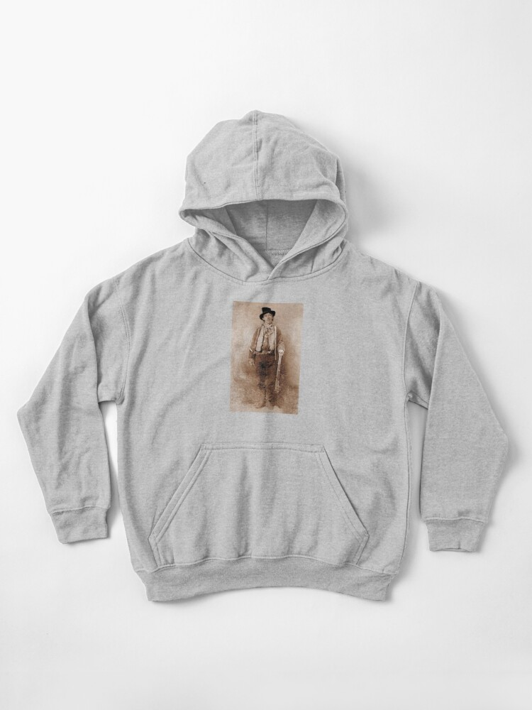 pretty nice cd017 d5bfe WANTED, Billy the Kid, Henry McCarty, William H. Bonney, Cowboy, American,  Outlaw, Wild West | Kids Pullover Hoodie