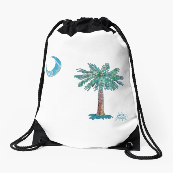 Palmetto Tree and Moon by Jan Marvin Drawstring Bag
