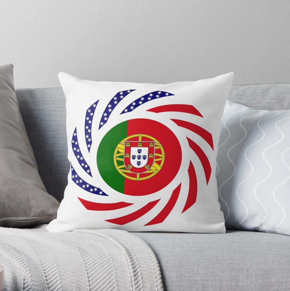 Portuguese American Multinational Patriot Flag Series Throw Pillow