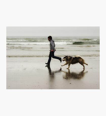 Beach, Boy, Dog Photographic Print