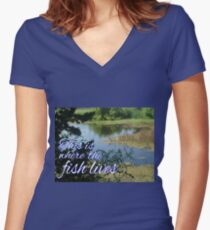This is Where the Fish Lives Women's Fitted V-Neck T-Shirt