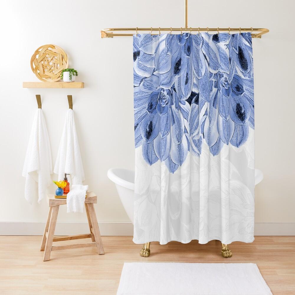 Elegant Blue Flowers Design Shower Curtain