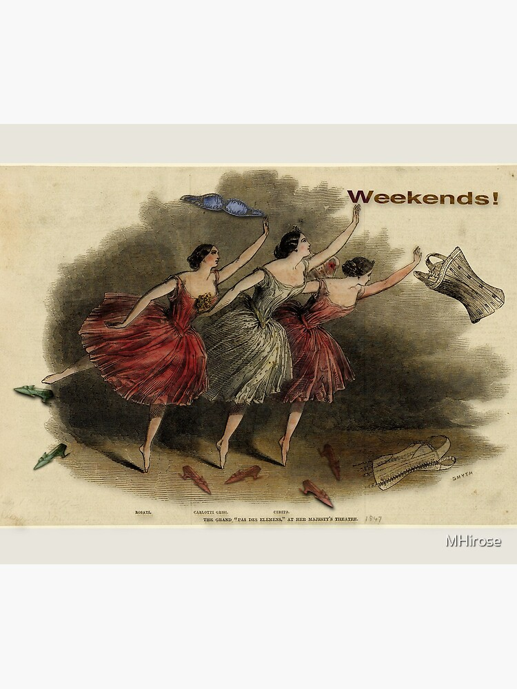 Weekends Ballerina Style - Ballet Dancers In A Beautiful Art Print Ready For The Weekend! by MHirose