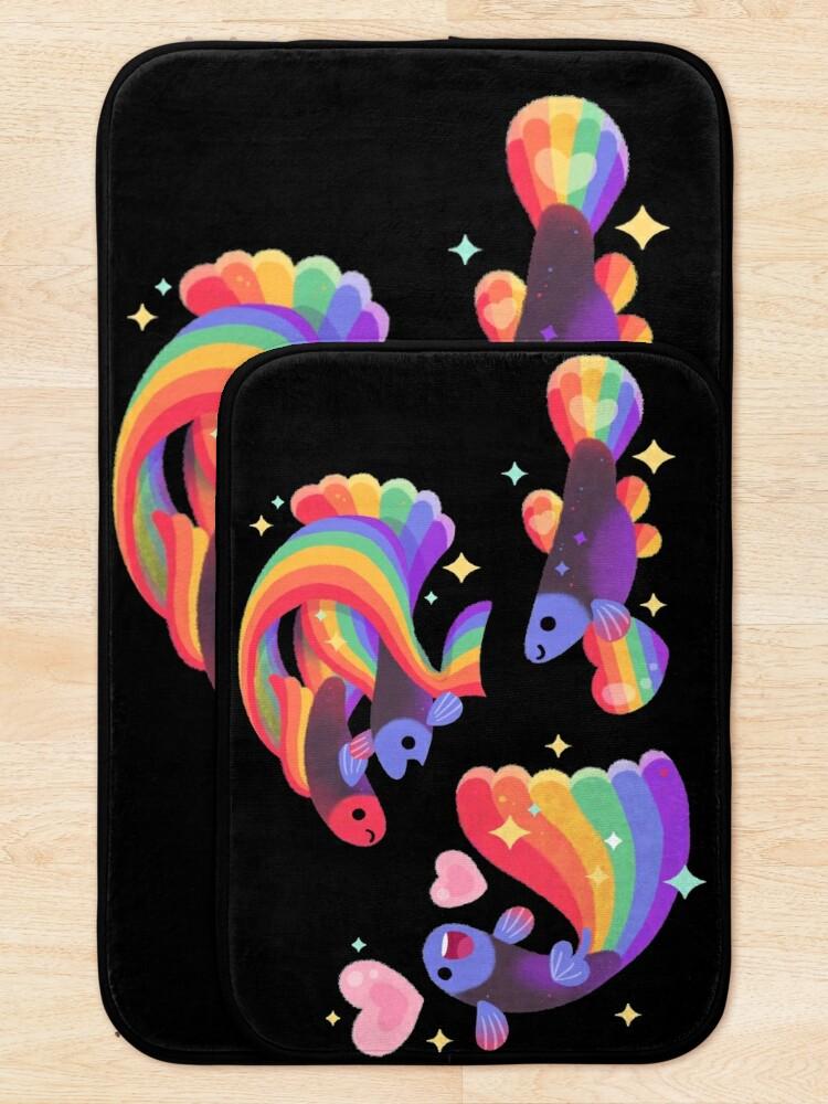 Alternate view of Rainbow guppy 5 Bath Mat