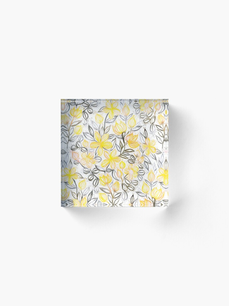 Alternate view of Sunny Yellow Crayon Striped Summer Floral Acrylic Block