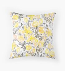 Cojín Sunny Yellow Crayon Striped Summer Floral