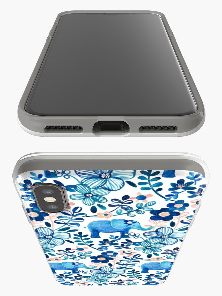 Alternate view of Blush Pink, White and Blue Elephant and Floral Watercolor Pattern iPhone Case & Cover