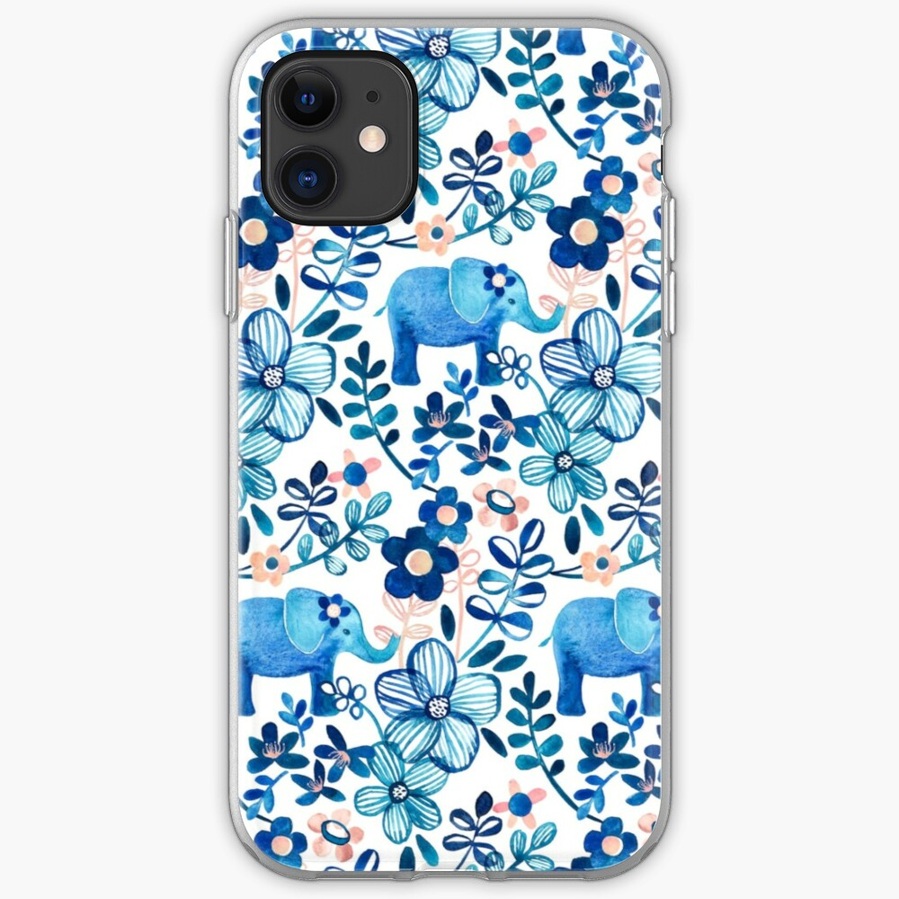 Blush Pink, White and Blue Elephant and Floral Watercolor Pattern iPhone Case & Cover