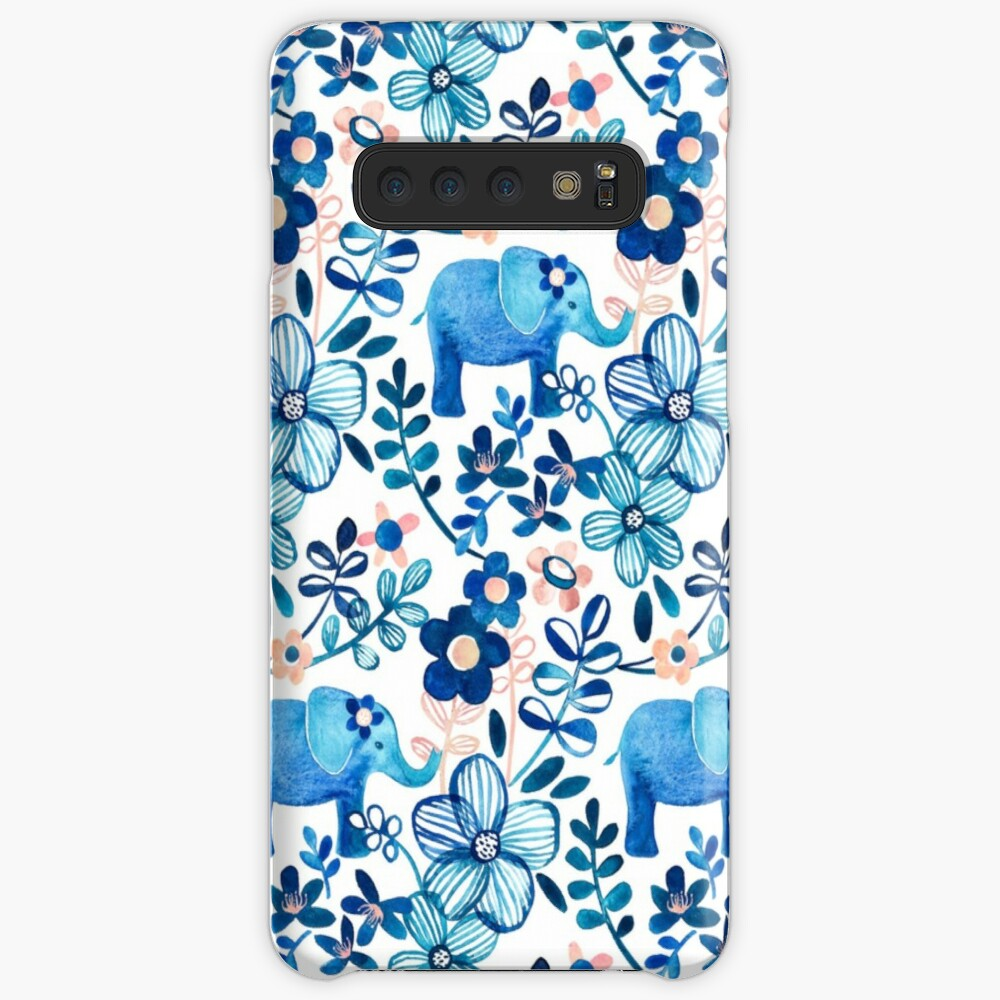 Blush Pink, White and Blue Elephant and Floral Watercolor Pattern Case & Skin for Samsung Galaxy