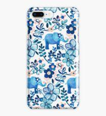 Vinilo o funda para iPhone Blush rosa, blanco y azul elefante y patrón floral de la acuarela