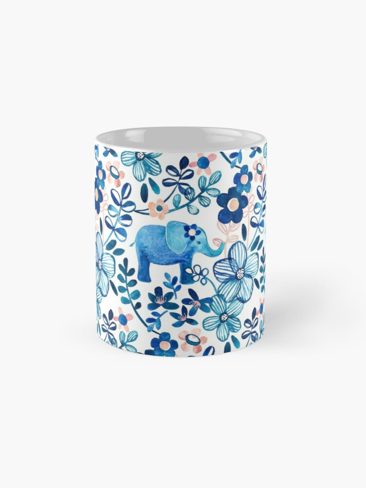Alternate view of Blush Pink, White and Blue Elephant and Floral Watercolor Pattern Mug