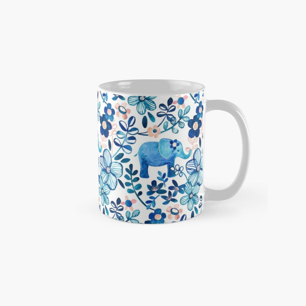 Blush Pink, White and Blue Elephant and Floral Watercolor Pattern Mug