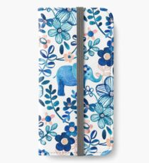 Blush Pink, White and Blue Elephant and Floral Watercolor Pattern iPhone Wallet/Case/Skin